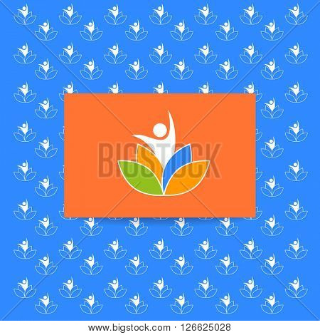 Yoga logo. Yoga pattern. Vector design template. Health Care, Beauty, Spa, Relax, Meditation, Nirvana concept icon.  Vector illustration.