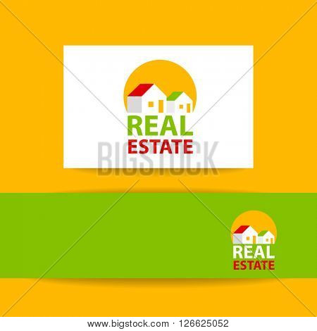 Real Estate Logo Design. Creative abstract real estate icon logo and business card template.Real Estate vector logo design template.