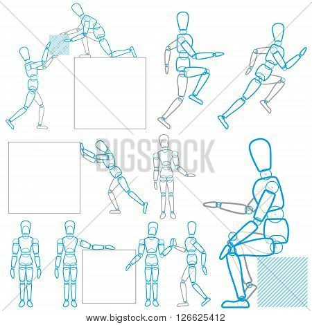 A character in action, stands, runs, sits, lifts and moves the goods