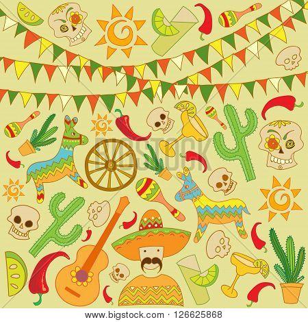 Cinco de Mayo Background with Skulls, Piñatas, Chili and more