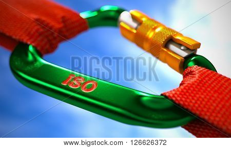 Green Carabine with Red Ropes on Sky Background, Symbolizing the ISO - International Organization Standardization. Selective Focus. 3D Render.
