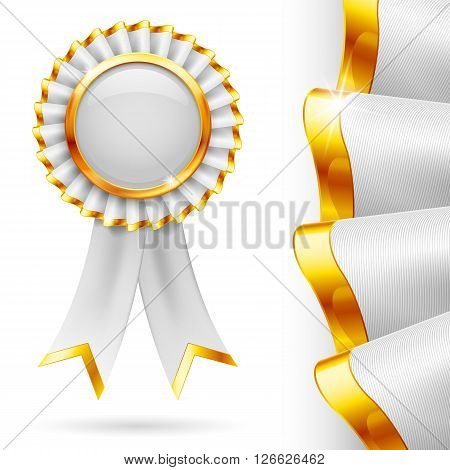 Shiny white award ribbon with golden edging. Fabric with highly detailed texture