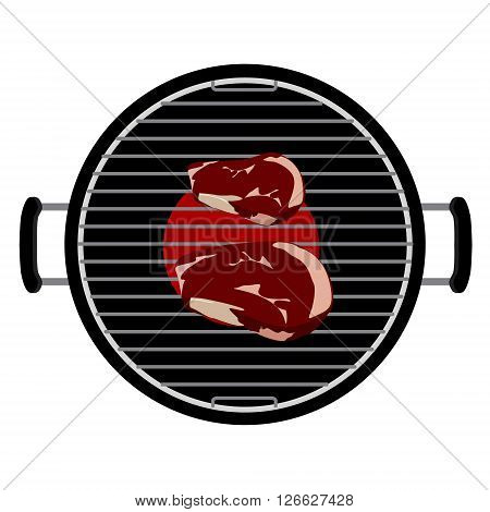 Vector illustration charcoal barbecue grill top view. bbq and grilled beef steak meat on it