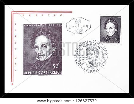 AUSTRIA - CIRCA 1965 : Cancelled First Day Cover letter printed by Austria, that shows Ferdinand Reimund.