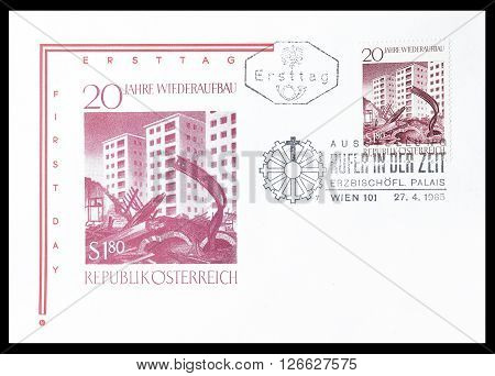 AUSTRIA - CIRCA 1965 : Cancelled First Day Cover letter printed by Austria, that shows Ruins in front of new buildings.