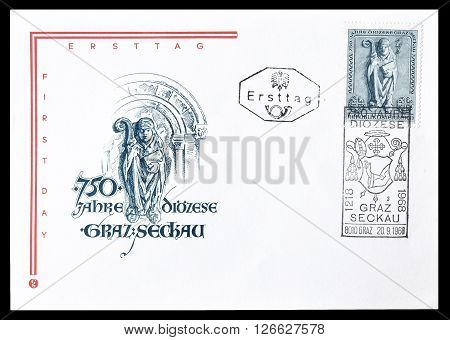 AUSTRIA - CIRCA 1968 : Cancelled First Day Cover letter printed by Austria, that shows Bishop figure.