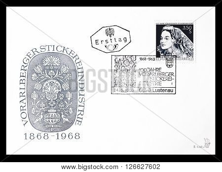 AUSTRIA - CIRCA 1968 : Cancelled First Day Cover letter printed by Austria, that shows Bride.