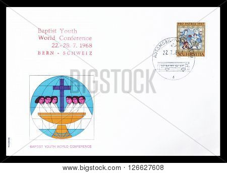 SWITZERLAND - CIRCA 1967 : Cancelled First Day Cover letter printed by Switzerland, that shows Worshipping of the kings.