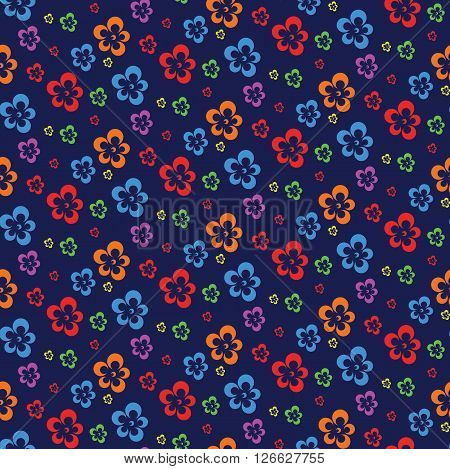 colorful abstract flowers dark seamless pattern vectorillustration