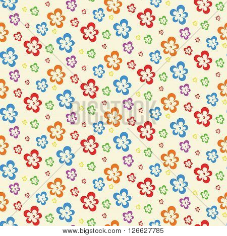 colorful abstract flowers lite seamless pattern vector illustration