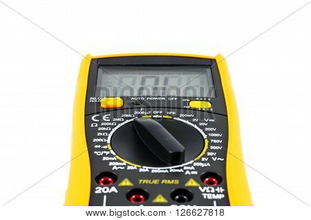 Electric multimeter isolated on white use in lab