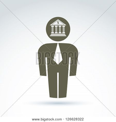 White collar bank worker man icon with bank building conceptual vector symbol.