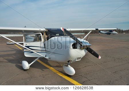 Kiev Ukraine - November 12 2010: Cessna 172 Skyhawk parked on the apron of the airport is waiting for the passengers