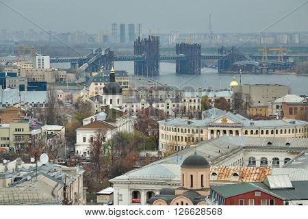 Kiev Ukraine - November 6 2010: view to the district of Podil