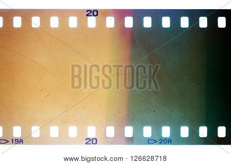 Blank yellow vibrant noisy film strip texture background