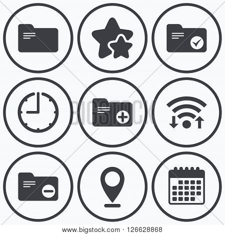 Clock, wifi and stars icons. Accounting binders icons. Add or remove document folder symbol. Bookkeeping management with checkbox. Calendar symbol.