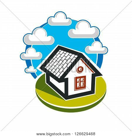 Simple house illustration countryside idea. Abstract vector image of a building over beautiful landscape with blue sky and fluffy clouds. Real estate theme.