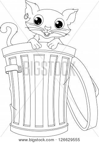 Stray cat peeking out of the trash can, coloring page
