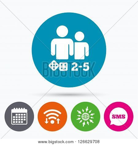 Wifi, Sms and calendar icons. Board games sign icon. From two to five players symbol. Dice sign. Go to web globe.