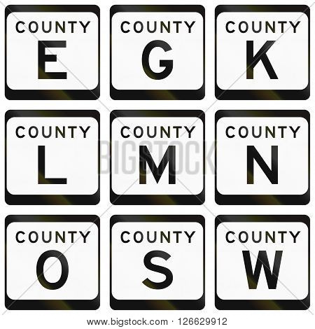 Collection Of County Route Shields In The Us State Wisconsin