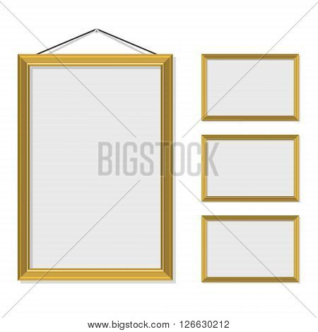 Vector illustration blank gold golden picture frame template set hanging on wall isolated on white background