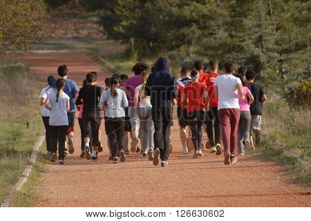 ANKARA/TURKEY-APRIL 13, 2016: Runner at the training session on the racetrack. April 13, 2016-Ankara/Turkey