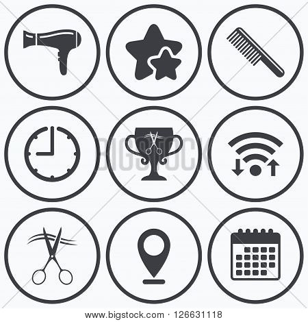 Clock, wifi and stars icons. Hairdresser icons. Scissors cut hair symbol. Comb hair with hairdryer symbol. Barbershop winner award cup. Calendar symbol.