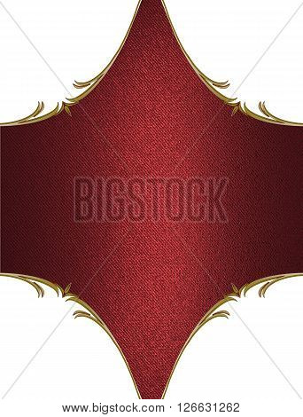 Red Plate With Gold Trim. Template For Design. Copy Space For Ad Brochure Or Announcement Invitation