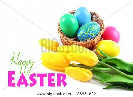 Easter greeting card. Multicoloured eggs and tulips isolated on white