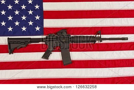 Ar15 M4A1 M16 Style Weapon Automatic Rifle With Usa Flag