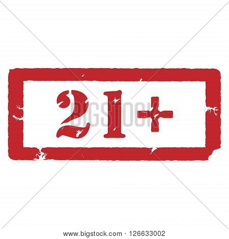 Vector illustration rectangle red under 21 twenty one stop sign. 21+ age restriction stamp