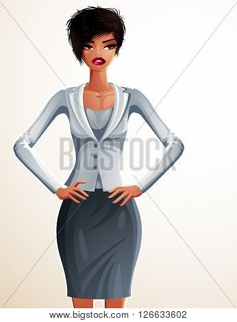 Beautiful coquette business lady illustration full body portrait of a sexy slim brunette holding her hands on a waist. People expression of a young pretty woman.