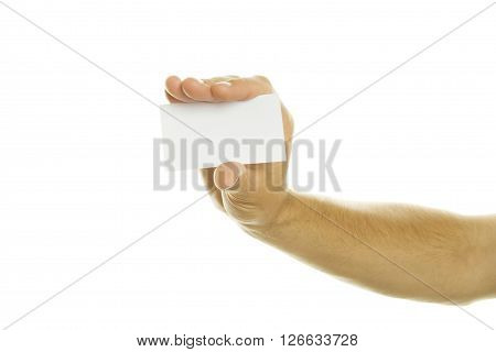 Business card in a man hand. Isolated on white background