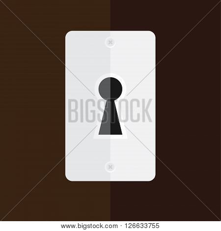 Vector illustration silver keyhole in wooden door. Key hole icon