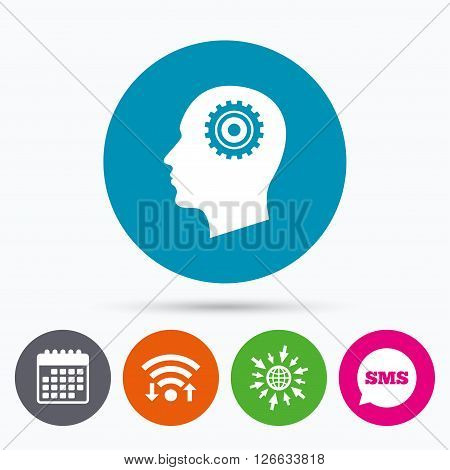Wifi, Sms and calendar icons. Head with gear sign icon. Male human head symbol. Go to web globe.