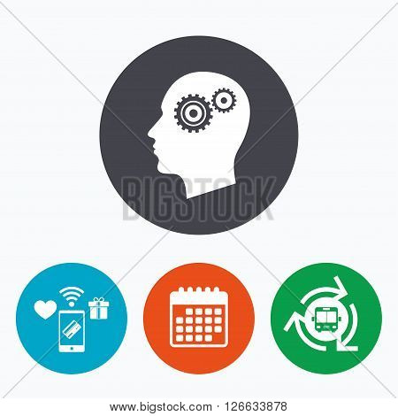 Head with gears sign icon. Male human head symbol. Mobile payments, calendar and wifi icons. Bus shuttle.