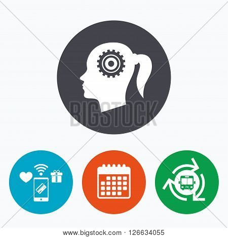 Head with gear sign icon. Female woman human head think symbol. Mobile payments, calendar and wifi icons. Bus shuttle.