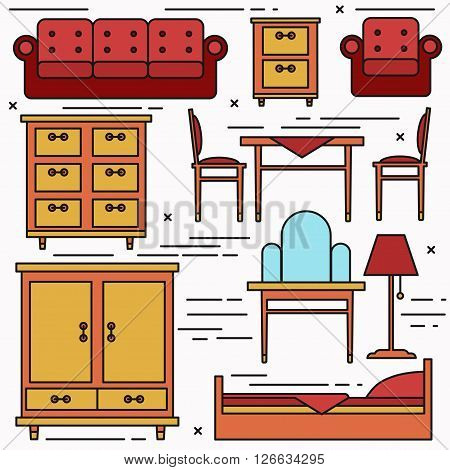Lineart colored home furniture icons vector set.