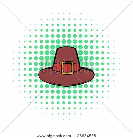 Pilgrim hat icon in comics style on a white background
