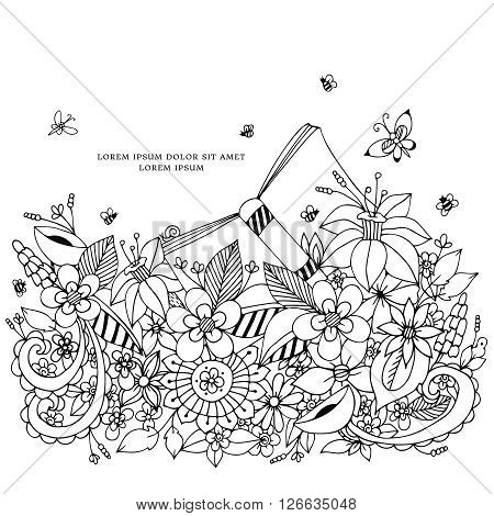 Vector illustration of floral frame zentangle, doodling. Zenart, doodle, flowers. Delicate, beautiful. Black and white. Adult coloring books Coloring anti-stress.