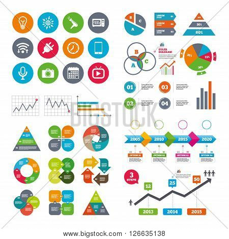 Wifi, calendar and web icons. Home appliances, device icons. Electronics signs. Lamp, electrical plug and photo camera symbols. Diagram charts design.