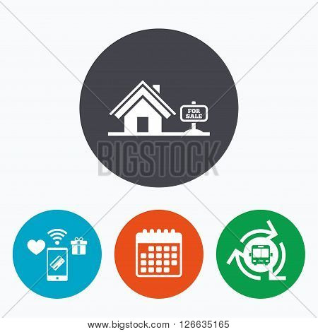 Home sign icon. House for sale. Broker symbol. Mobile payments, calendar and wifi icons. Bus shuttle.