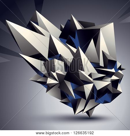 Geometric Monochrome Polygonal Structure, Modern Science And Technology Element. Architectural Model