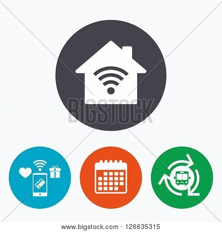 Home Wifi sign. Wi-fi symbol. Wireless Network icon. Wifi zone. Mobile payments, calendar and wifi icons. Bus shuttle.