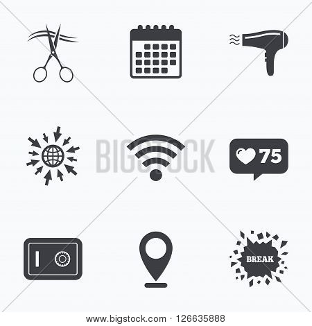 Calendar, like counter and go to web icons. Hotel services icons. Wi-fi, Hairdryer and deposit lock in room signs. Wireless Network. Hairdresser or barbershop symbol. Location pointer.