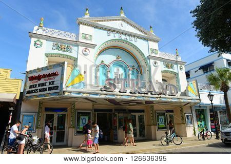 KEY WEST, FL, USA - JAN 1: Historic Strand Theater on Duval Street on Jan 1st, 2015 in Key West, Florida, USA. Now it's used as a Walgreens Pharmacy.