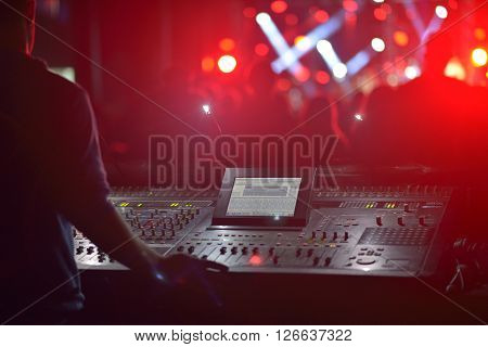 Free outdoor concert with DJ in summer ** Note: Shallow depth of field