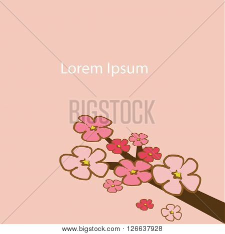 Cherry Blossom flower branch tree with pink and red illustration vector download with copy space for put the text on pink background