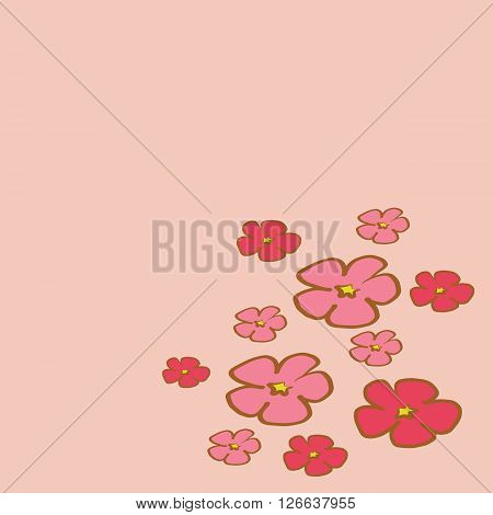 Cherry Blossom branch illustration vector with pink petals flower pink tone isolated on white background