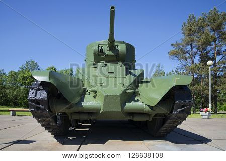 LENINGRAD REGION, RUSSIA - JUNE 08, 2015: Soviet wheeled-tracked fast tank BT-5 in diorama